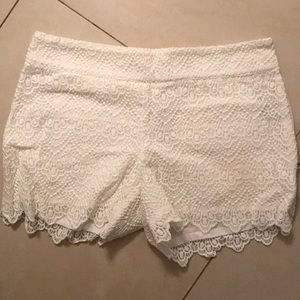 White Lace Shorts from Anthropologie